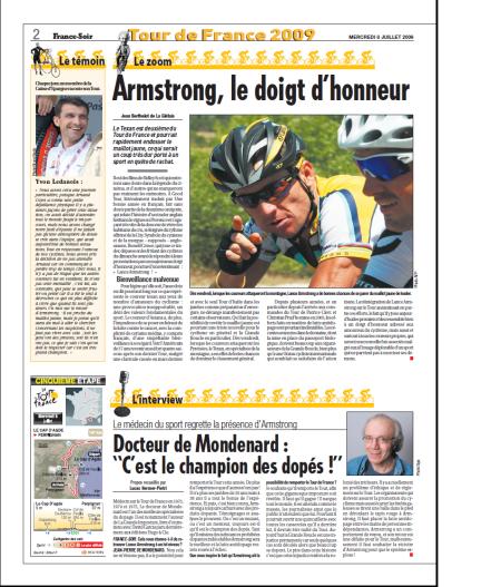 Armstrong, le doigt d'honneur