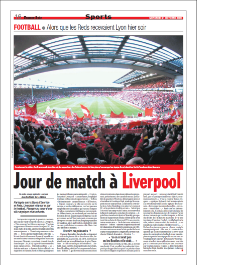 Jour de match à Liverpool